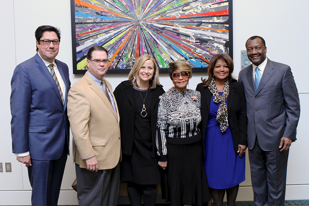 (L to R) Jose Gonzalez (2016 Trailblazer Award winner), Joey Hatch (2016 Diversity Champion Award winner), Mayor Megan Barry, Josephine Bridges (2016 Legend Award winner), Jacky Akbari (co-founder, board chairwoman of NOW Diversity) and Calvin Anderson (2016 Leadership Award winner).