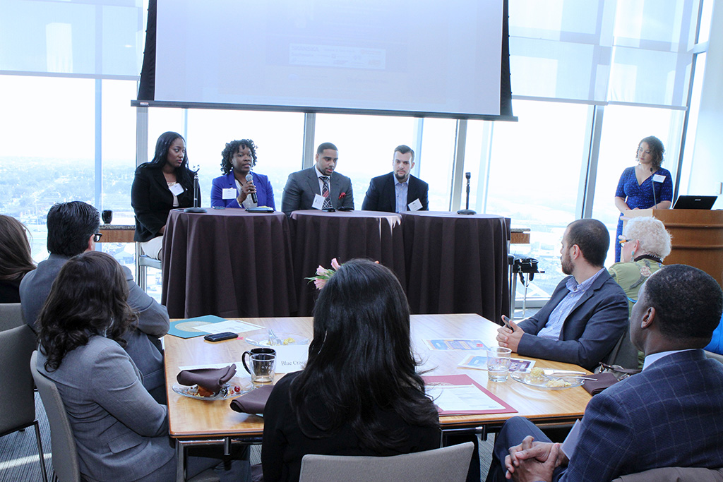 "(L to R) Panelists Aerial Ellis (author, ""The Original Millennial""), Kinika Young (Bass, Berry & Sims), Marcus Johnson (Edward Jones) and Luke Marklin (Uber) and Q&A facilitator Claudia Humphrey."